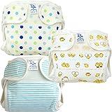 新生児用おむつカバー 3枚組 ボーダー・ドット・ひよこ柄 日本製 (60cm,男の子)