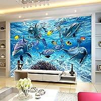 Xueshao 3D写真の壁紙水中世界イルカ魚子供ルーム寝室リビングルームテレビ装飾壁壁画壁紙-120X100Cm