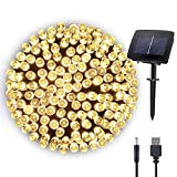 Hopolon Solar Fairy/Starry String Lights Outdoor Waterproof 72ft 200LED for Patio, Lawn,Garden, Home, Wedding, Holiday, Christmas Party, Xmas Tree Decoration,Waterproof/Timer/USB Charge (Warm White)