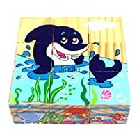 vipasnam-woodenマルチカラーパズルギフト小さな初期学習子供海洋動物おもちゃ