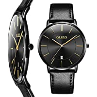 Thin Mens Watches,Men's Watch Blue/White/Black Dial Wrist Watches,Mens Leather Watch Black\Yellow\Brown Simple Men Business Watch with Date,Waterproof Quartz Casual Watch,Men's Watches