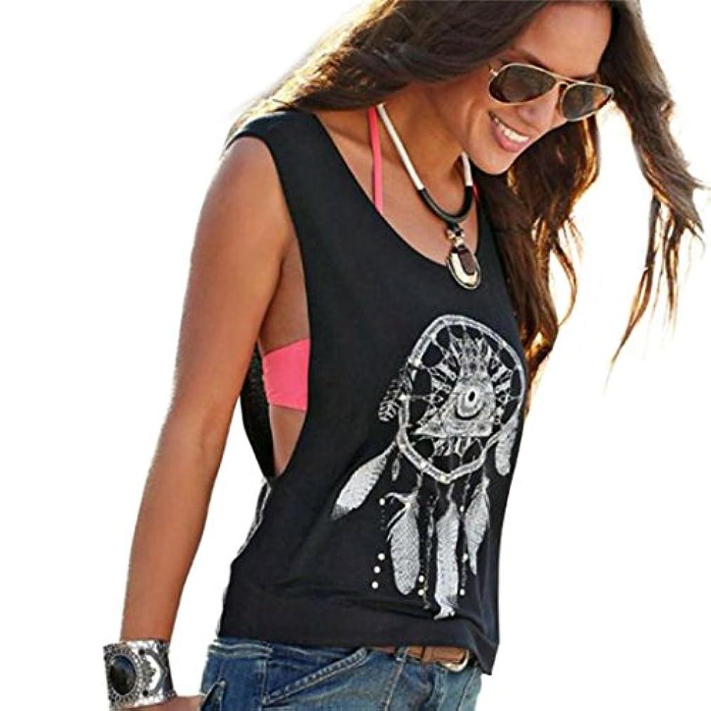 負担に頼る収容するSakuraBest セクシーな女性の夢キャッチャープリントベストシャツTシャツ