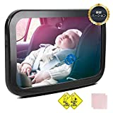 車用ベビーミラー チャイルドシート 車ミラー360度調節可能 曲面鏡大視野後ろに向かず子供の様子を確認でき後部座席用 ガラス飛散防止(サイズ:300×190mm)ベビーインカーの吸盤タイプ付