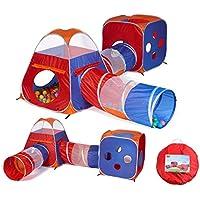 utex 4 in 1 Pop Up Kids再生テントトンネルボールピット、Playhouse with 2トンネル、2、テント、ファスナーストレージバッグの男の子、女の子、赤ちゃんと幼児のインドア&アウトドア使用