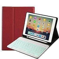 7色 バックライト付き iPad 10.2 インチ キーボード ケース ペンホルダー付き 2019秋モデル iPad7 第7世代 アイパッド 10.2 インチ 分離式 キーボード付き カバー Apple Pencil ペンシル ケース (iPad 10.2 inch, ワインレッド+白キーボード)