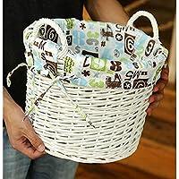 DCAH ストレージバスケット、ラタンハンパーオーバルウィッカー布バケット織物衣類保管バスケットランドリーバスケット2つのオプション Laundry basket (サイズ さいず : 32 * 32 * 24cm)