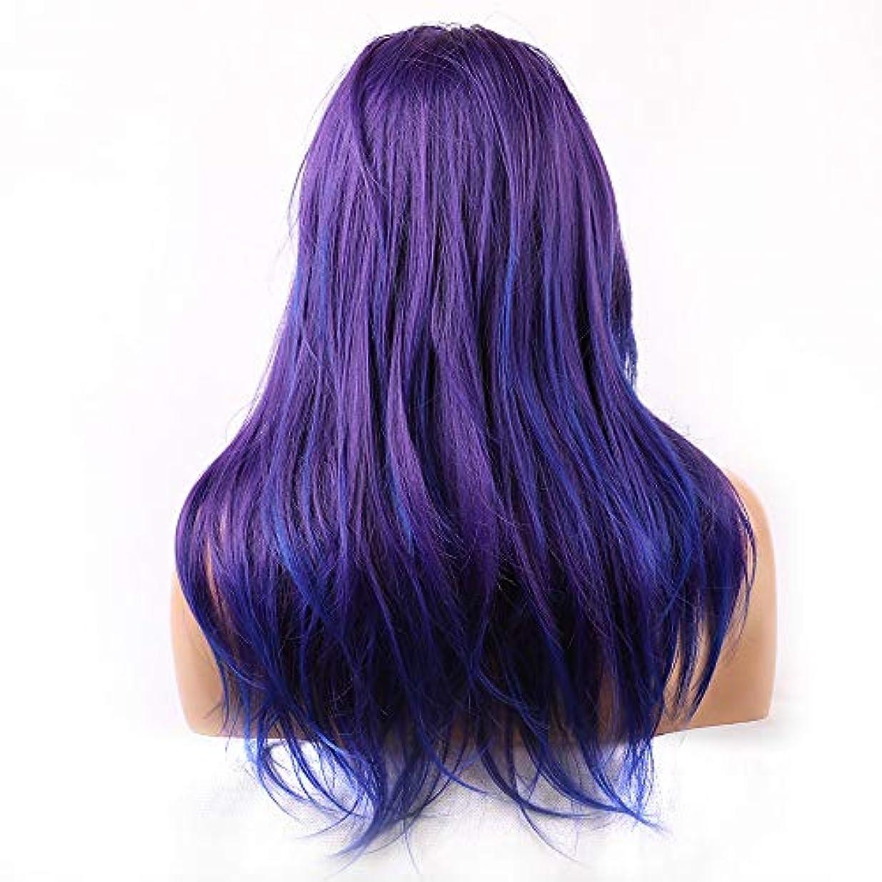コンパクト毒液アッパーレースCOSの小道具の前に女性の青い長い巻き毛のかつらをかつら