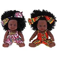 Baoblaze 2個 12インチ アフリカ系アメリカンベビードール ベイビーガールドール 新生児ドール 2色 - #1