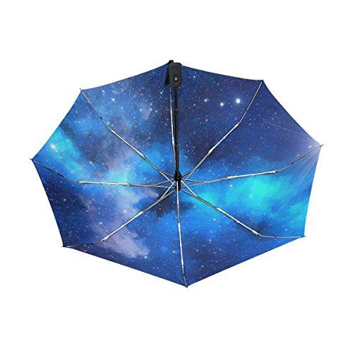 マキク(MAKIKU) 折り畳み傘 自動開閉 レディース 軽量 ワンタッチ 日傘 晴雨兼用 星柄 星団 宇宙 ブルー uvカット 紫外線対策 頑丈な8本骨 耐風 撥水 グラスファイバー 収納ケース付