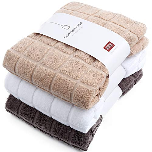 AKASKARI バスタオル 吸水 3色3枚セット 綿100% 60cm×130cm(ホワイト+べージュ+ブラウン)