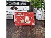 グリーティングカード 1 Pcクリスマスグリーティングカードクリスマスバレスカード封筒招待状カードギフトカード(赤)
