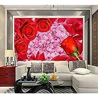 Lixiaoer ロマンチックな赤いバラ結婚式の結婚式の部屋新しい家の背景壁の装飾絵画カスタム3D寝室の壁紙-120X100Cm