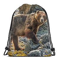 ヒグマオンビーチドローストリングバックパックバッグユニセックスジムサックパックスポーツ文字列バッグクリスマスギフトビーチバッグ
