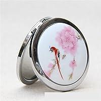 HuaQingPiJu-JP ミニラウンドポータブル赤い鳥の模様の陶器の鏡サークル工芸装飾化粧品アクセサリー