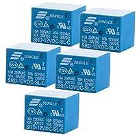 HWMATE DC 12V 10Aパワーリレー PCBマウント 5ピン変換タイプ(5パック)