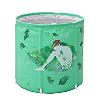 断熱材Widen Foldバスバレル緑Bathtub必要ない膨らませThickeningプラスチック大人用Bathバレル 70*70cm グリーン 1