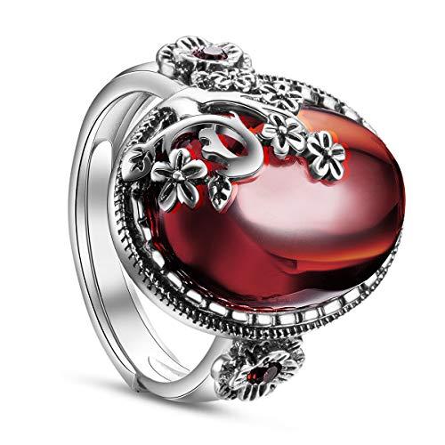 SHEGRACE シルバー990 オーバルガーネット アンティーク風 純銀 フィンガー 指輪 バンドリング ジュエリー レディース