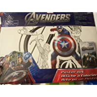 Marvel Avengersポスターアートセット~ 2 Color Your Own Posters、1ジャンボステッカー、5クレヨン