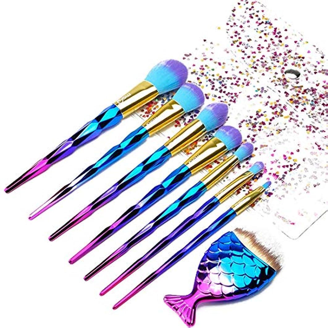 クリーナー王室アブストラクト辽阳世纪电子产品贸易中心 FUYZBメイクブラシ、Angelabasics 7PCS /セットメイクアップブラシファンデーションアイシャドーブラッシャーパウダーブレンド化粧ブラシメイクブラシセット (色 : Gradient)