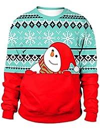 Comeyvanback 女性のクリスマススノーマン3DプリントロングスリーブCrewneckのスウェットシャツ (Color : Green+Red, サイズ : M)
