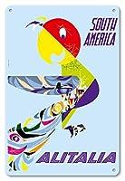 22cm x 30cmヴィンテージハワイアンティンサイン - 南アメリカ - アリタリアイタリア航空会社 - ビンテージな航空会社のポスター によって作成された グレゴリー c.1960s