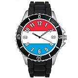 bmsc538ルクセンブルク国国旗メンズレディースブラックJellyシリコン腕時計