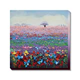 Asmork 近代美術ランドスケープ 油彩画100%手描き 油彩画壁のデコレーションキャンバス絵画抽象芸術作品‐最高のプレゼント フラワーズ 30*30cm