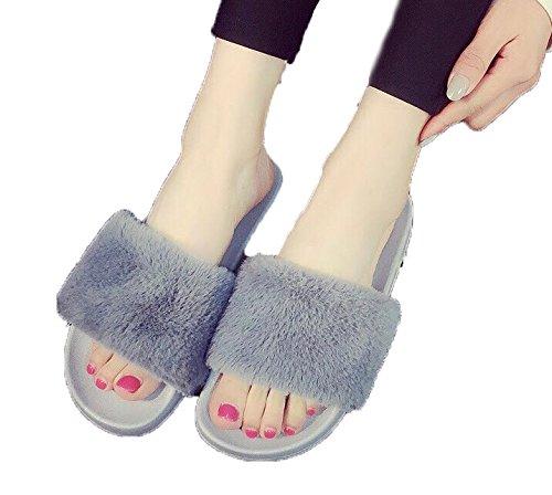 [해외]HTJ 퍼 샌들 여성 편안한 ぺたんこ/HTJ Fur Sandals Women`s Easy to walk