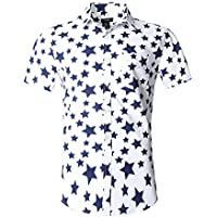 NUTEXROL Men's Star Print Casual Shirt Short Sleeve Cotton Shirts star