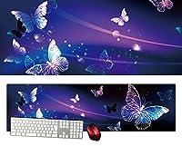 蝶々バタフライ特大デスクマットdsm27/1000×280/セミハードタイプ/マウスパッド/ゲーミング/高級感のあるエンボス仕様/かっこいい