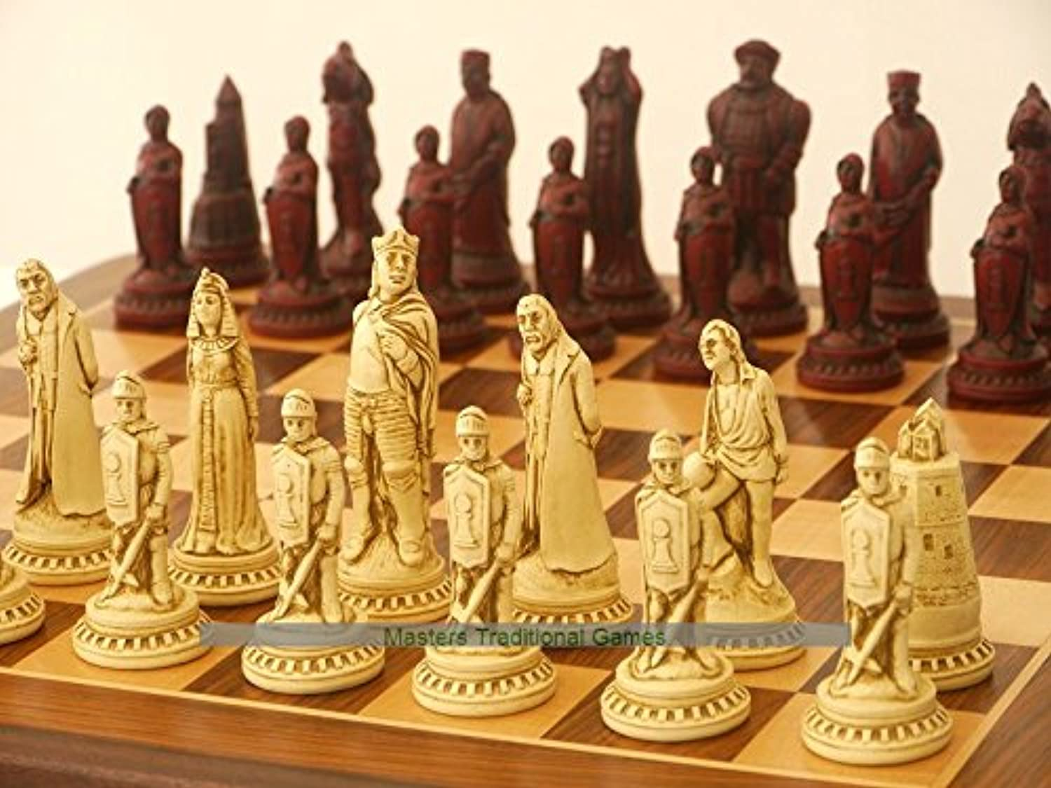 Berkeley Shakespeare Ornamental Chess Set (cream and red, board not included)