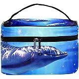 AyuStyle バニティポーチ トラベルバッグ イルカ 海豚 化粧ポーチ メイクポーチ コスメバッグ 化粧道具 大容量 機能的 小物入れ おしゃれ かわいい 収納ケース