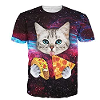 Wiboyjp メンズtシャツ 猫 ネコ 3d ヒップホップ スウェット t shirt 3dtシャツ おもしろ tシャツ スリム 半袖tシャツ サマー メンズ 3D 春 夏 猫柄 ファッション 宇宙 ストリート ユニセックス