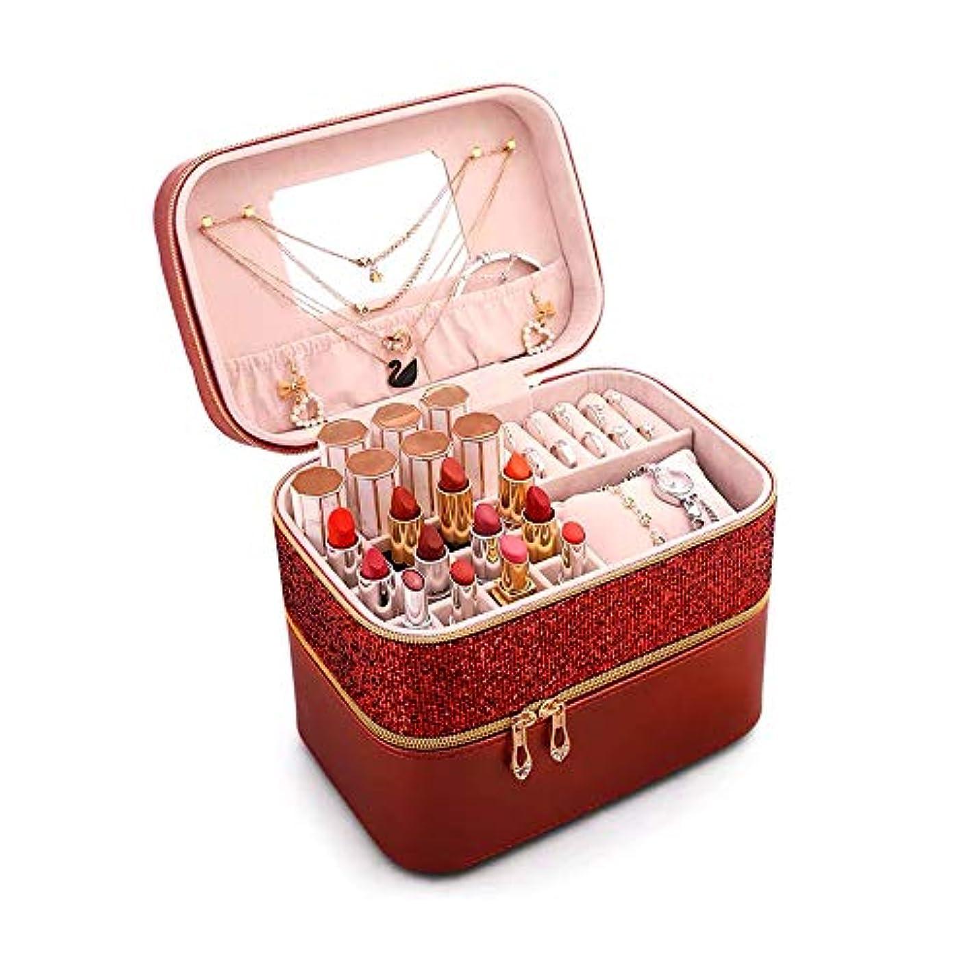 束自治的落ち着いてSZTulip メイクボックス 化粧品収納ボックス メイクケース コスメボックス 口紅など小物入れ アクセサリー収納 大容量鏡付き (レッド)