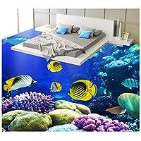 Mrlwy リビングルームの壁紙の床カスタム写真自己接着床壁画PVC防水家の装飾-120X100CM