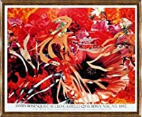 ポスター ジェームズ ローゼンクイスト Pearls Before Swine Flowers before Flames 1990年 限定1000枚 額装品 コンペックスフレーム(ゴールド)