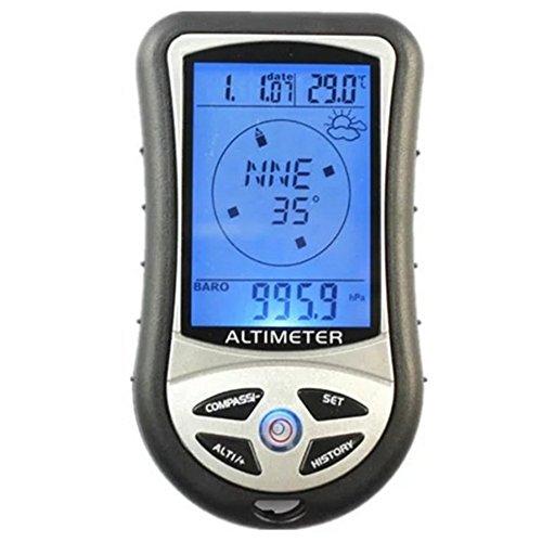 デジタルコンパス Tinypony 登山コンパス デジタル高度計 携帯気圧計 夜間使用可能 天気予報付き 羅針盤 LCDディスプレイ コンパス 気圧計 天気予報 カレンダー 高度計時刻 超軽量 コンパクト