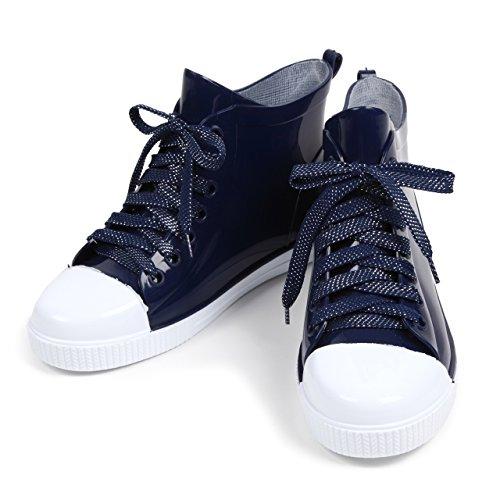 (ROOM28) スニーカー 型 レイン シューズ カジュアル シンプル デザイン 通勤 通学 雨 長靴 レディース 靴 (25.0cm, 紺 ネイビー)