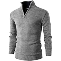 H2H Mens Casual Slim Fit Pullover Sweaters Mock Neck Zip up Twisted Patterned