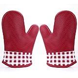 オーブンミトン - Nuovoware 耐熱 防水 滑り止め シリコン製 キッチン用 オーブンミトン・手袋 2個セット 短いタイプ RED