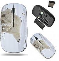 Liiliワイヤレスマウス旅行2.4GワイヤレスマウスUSBレシーバー付き、クリックwith 1000dpi for PCノートブック、PC、ラップトップ、コンピュータ、Mac Bookホワイト彼女はBear with cubs A彼女Polar Bear with T