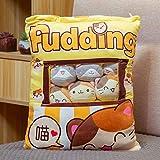 Plush Mini Dolls Pudding Plush Toys Snack Bag Pillow with 8 Mini Plush Toy Stuffed Pillows Bedroom Decoration Kids (Yellow)