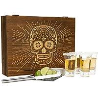 Atterstone テキーラボックスセット プレミアムショットグラス ガーニッシュナイフ ソルト缶 蓋付き キャンディスカルテーマの木製ボックスとコースター メキシコテーマのパーティーに最適 ホリデーギフト