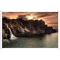 沿岸滝のティンサイン 金属看板 ポスター / Tin Sign Metal Poster of Coastal Waterfalls