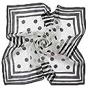 (グランクレエ) 日本製 シルク100 大判 スカーフ レディース ブランド 春 夏 秋 冬 (P-1 ドットブラック 透け感あり)