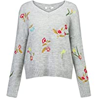 Just Quella Women Sweaters Cozy Long Sleeve Tops Floral Birds Embroidery Knit Oversize Pullover