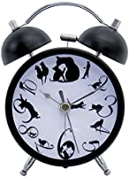 Abeille 猫グッズ の目覚まし時計 ネコ ブラック AKT-2801