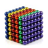 OMO Magnetics 【世界最強マグネット】 強力 マグネット 磁石 立体パズル ボール 球形 直径5mm N42 ネオジム ネオジウム ニッケルメッキ カットカードと専用ケース付き 10色選択可能(216個セット) (六色)