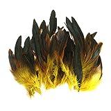 【ノーブランド品】羽根  装飾用 羽根 DIY ジュエリー 工芸品 ヘアアクセサリー バッグ 帽子 工芸品 クラフト ソーイング デコレーション用 12〜18cm (黄色)
