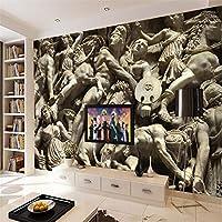 3d壁紙ローマンキャラクター像砂岩壁テレビの背景リビングルームの寝室の壁の装飾 360cm x 230cm